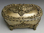 Large Heavy 19th C Footed French Bronze Casket Jewelry Box