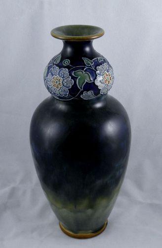 Art Nouveau Royal Doulton Lambeth Ware Blue Stoneware Vase