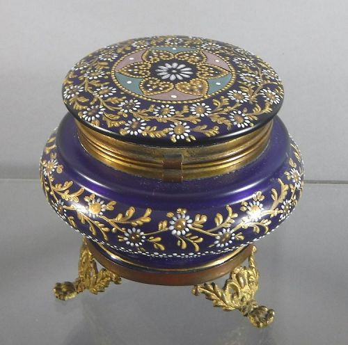Moser Cobalt Glass Footed Round Hinged Box With Ormolu Mounts