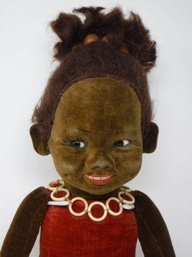 Norah Wellings Velveteen Black Character Doll with Glass