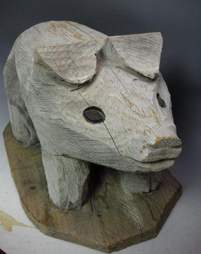 Large American Old Folk Art Hand Carved Wood Pig Statue