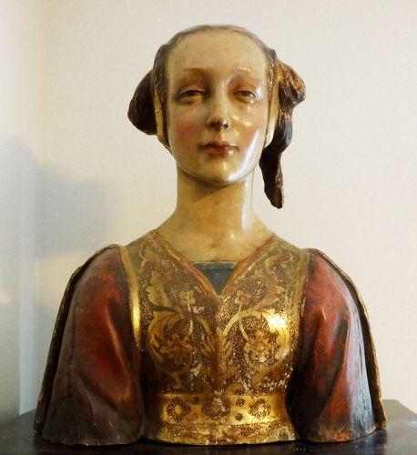 Antique Italian Florentine Terracotta Bust Renaissance Woman Statue
