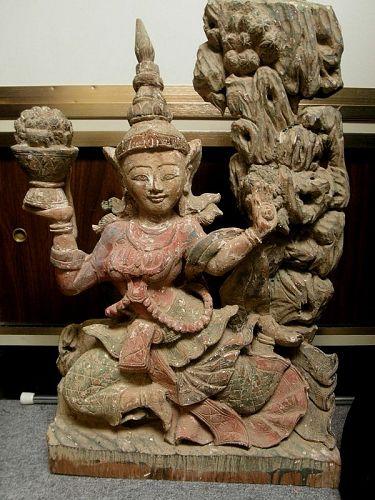 Large Burmese Myanma Antique Wood Dancing Nat Statue