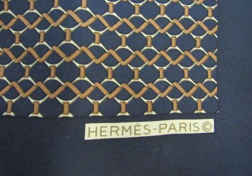 Vintage Men's Hermes-Paris France Silk Pocket Scarf in Blue and Golds