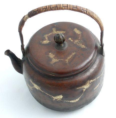 Japanese Copper Tsuiki-doki Teapot with Gold Splash