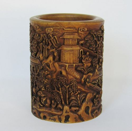 Chinese Carved Wood Brushpot by Shuyuan Zhang