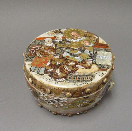 Antique Japanese Satsuma Drum Form Box and Cover Meiji