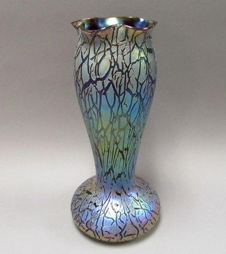 Impressive Rindskoph Red Crackle Papillion Art Nouveau Vase