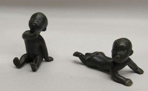 Pair of Art Deco Hagenauer Austrian Miniature Black Babies