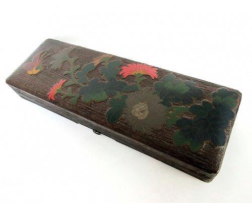 Japanese Treebark Wood Lacquer Cloisonne Document Box