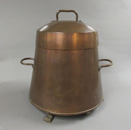 Antique Copper Doofpot, Dutch Coal Canister Bucket