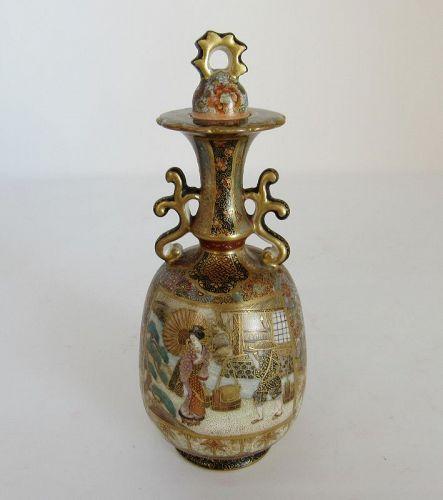 Small Japanese Meiji Era Satsuma Pottery Jar, Vase with Lid, Signed