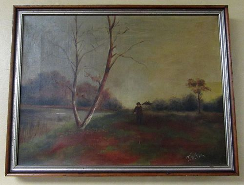 Antique Oil on Canvas Painting of New Jersey River Landscape