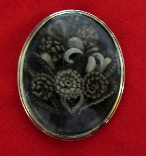 Spectacular Victorian Remembrance Hair Brooch, Dated 1843