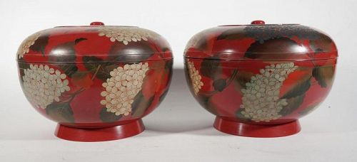Large Japanese Red Lacquer Round Box with Hydrangea, A Pair