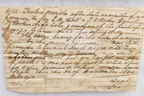 Rare Civil War Slave Rental Agreement & Other Papers Person County, NC
