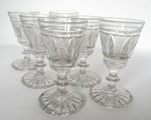 6 Antique Georgian Cut Crystal English Wine Glasses