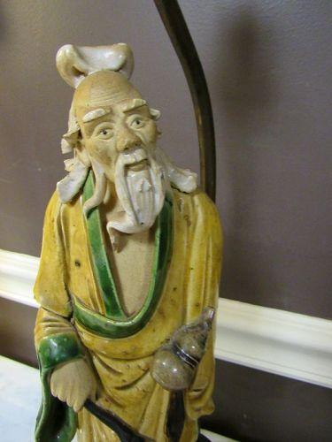 Old Chinese Pottery Tall  Shiwan Mudman Figurine Lamp