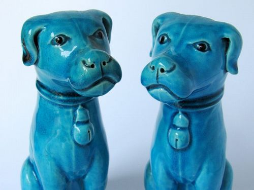 Pair of Chinese Export Porcelain Turquoise Sitting Dog Statues