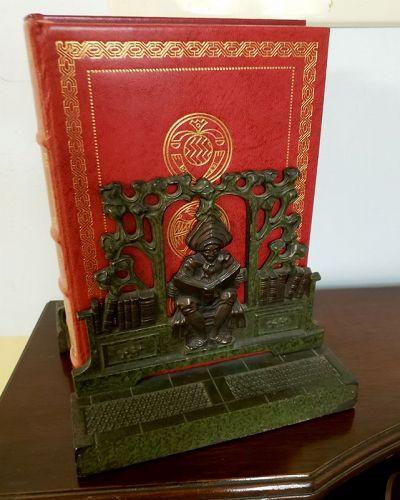 Pair of Art Nouveau Bookends of Reading Scholar
