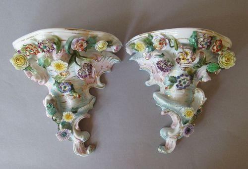 Pair Antique Dresden Sitzendorf Porcelain Wall Brackets