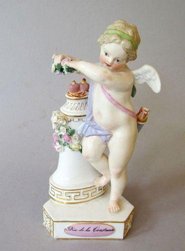 "Antique Meissen ""Love Crowned"" Cupid Porcelain Figurine Heart Flowers"