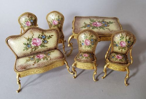 Miniature Continental Gold Vermeil and Guilloche Enamel Furniture