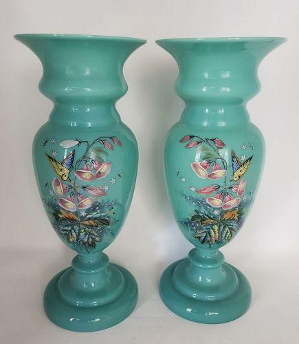Pair Thomas Webb Blue Opaline Art Glass Vase With Enamel Butterfly