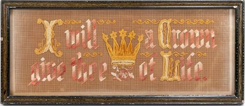19th C Antique American Religious Framed Silk Embroidery