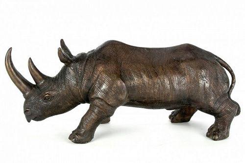 Large Vintage Bronze Animal Rhino Rhinosaurus Statue