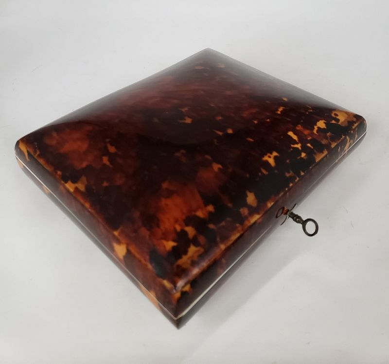 19th C Dutch Tortoise Shell Box with Sterling Tea Coffee Spoon Set
