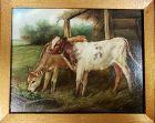 Original Oil on Canvas Landscape Farm Painting of Two Calves