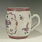Large Chinese 18th C Export Famille Rose Barrel Mug