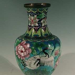 Chinese Blue Cloisonne Vase with Five Cranes
