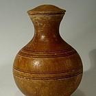 Rare Han Dynasty Pottery Amber Hu Jar with Lid