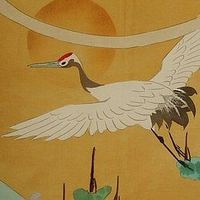 Japanese Silk Fukusa with Flying Crane Painting