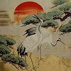 Mid-Showa Woven Crane Fukusa, Gold Turtle Tassels