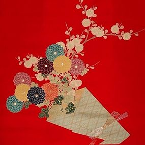 Japanese Silk Fukusa with Bouquet of Flowers, Showa