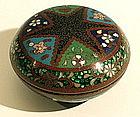 Meiji Round Cloisonne Box with Large Star Design