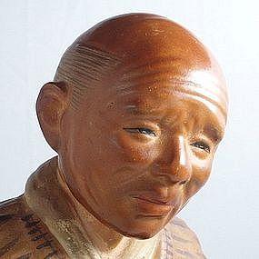 Japanese Hakata Figurine, Man Having a Cup of Tea