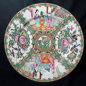 Chinese Export Rose Mandarin Medallion Plate, 19th C