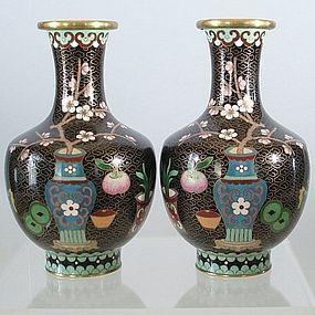 Pair of Chinese Black Enamel Cloisonne Vases