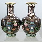 Pair of Chinese Black Enamel Cloisonne Vases