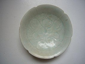 Song Qingbai Plate with Peony Decoration.