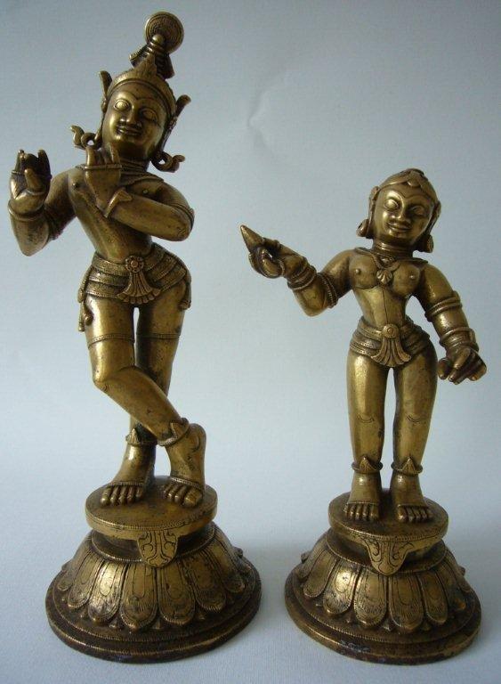 Exceptional Indian Bronze Krishna and Radha