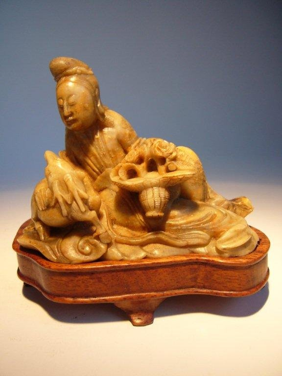 Chinese Soapstone Guanyin with Deer, Qing.