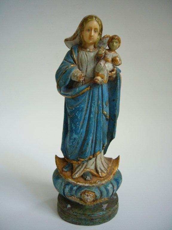 Madonna in Wood and Ivory from Goa 19th Century