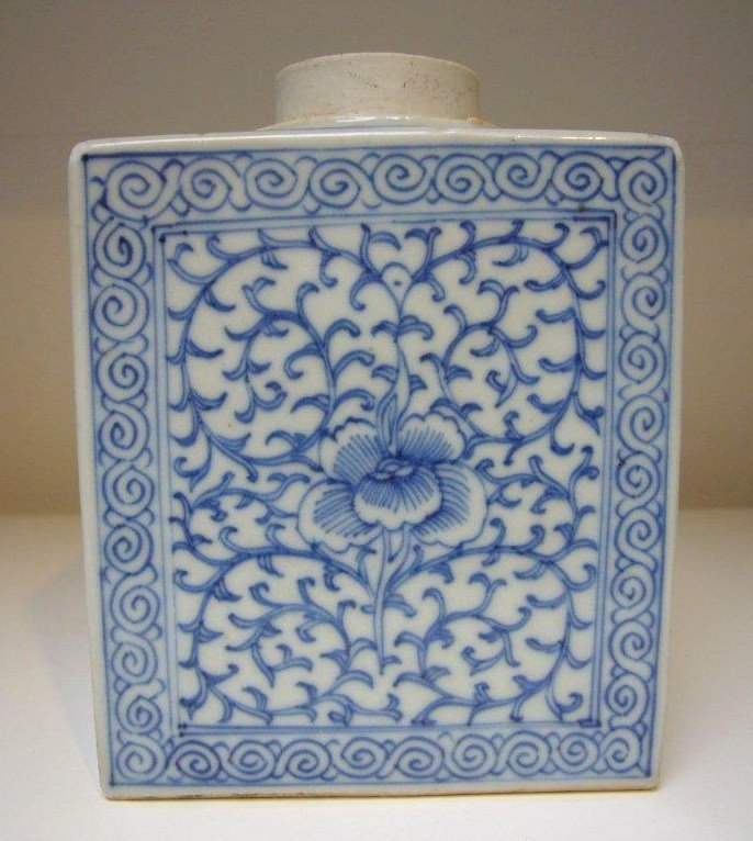 Chinese Late Qing B&W Porcelain Tea Caddy