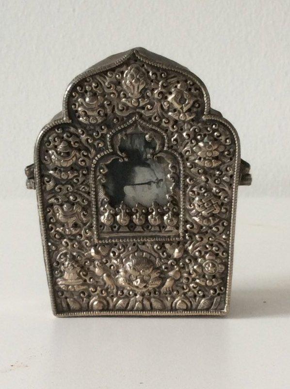 Tibetan Repousse Silver and Copper Gau
