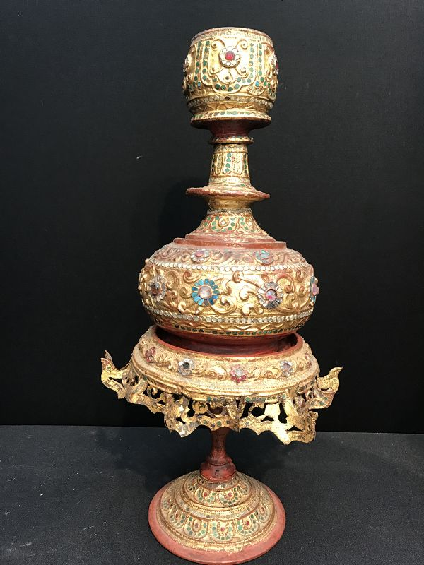 Burmese Lacquered Ceremonial Vase on Stand 19th Century
